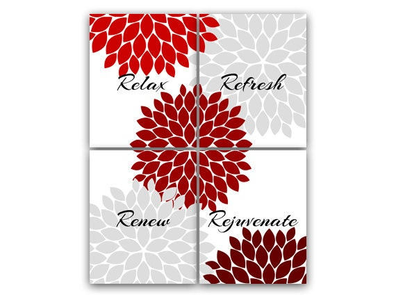 Bathroom Wall Art Relax Refresh Renew Rejuvenate Red And
