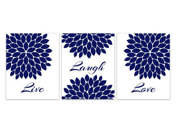 Canvas Home Decor Wall Art Live Laugh Love Blue Flower Wall