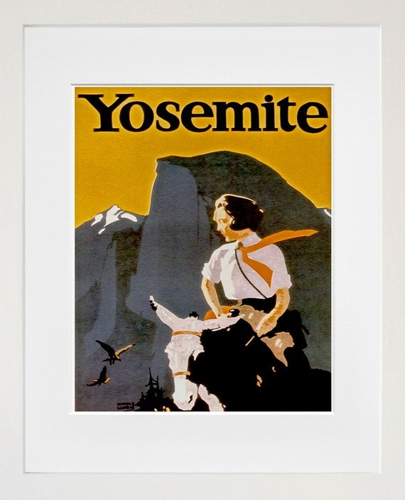 Art Yosemite Poster Vintage National Parks Travel Print Wall