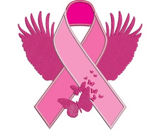 Support Breast Cancer with this Machine Embroidery Digitized Design Applique Pattern  - Instant Download - 4x4 , 5x7, and 6x10 -hoops