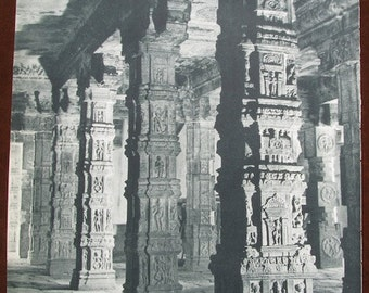 Temple Sculpture ... 1950's print from Italy