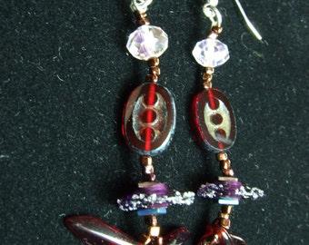 Red dagger earrings