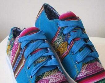 Pancho's Footwear - Women's Blue Low Top Sneakers