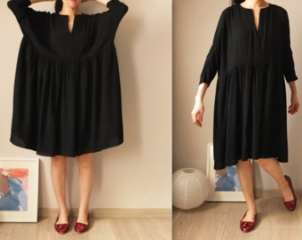 Flowy V-neck cotton gauze dress {Black}