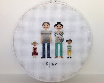 Cross Stitch Family Portrait in hoop or no frame