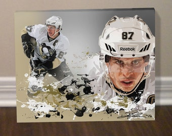 Sidney Crosby Pittsburgh Penguins Hockey Canvas Art Print - ** FREE SHIPPING in U.S.!! **