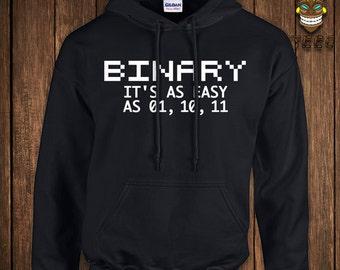 Funny Binary Code Hoodie Gift For Geek Nerd Hooded Sweatshirt Math Sweater Education Science It's As Easy As 01, 10, 11 University College
