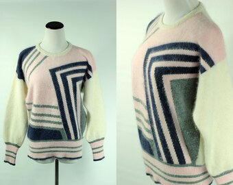 S a l e • Lambswool/Angora Fluffy 80s Geometric Design Sweater -- Sz Sm