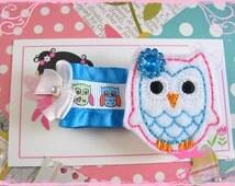 Owl Hair Clip / Owl Felt Hair Clip / Boutique Baby Hairclip / Cute Toddler Hair Accessories