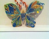 Handmade Quilled Butterfly, Approx 4in wide and 2in tall, comes in a variety of colours