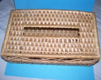 Vintage woven basket tissue box holder