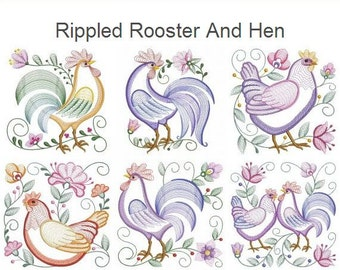 Rippled Rooster And Hen Farm Animals Machine Embroidery Designs Instant Download 4x4 5x5 6x6 hoop 10 designs APE2024