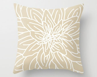 Modern Abstract Spring Flower Pillow Cover - Tan Beige - Neutral Home Decor - includes insert