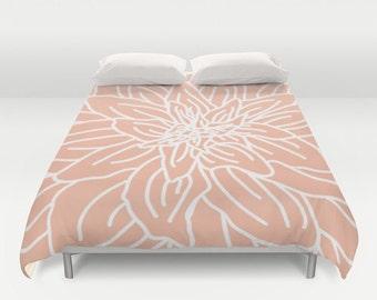 Modern Flower Duvet Cover - Pastel Peach - Queen Size Duvet Cover - King Size Duvet Cover