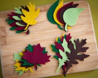 Wool Blend Felt Leaf Felt Leaf Cuts Felt Leaf Die Cut Felt Cut Shape Felt Leaf for Headbands Felt Shapes for Clips 40 Leaf