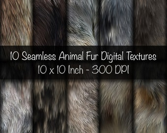 10 Seamless Digital Animal Fur Textures Printing Papers. 10 x 10 Inch. 300 DPI
