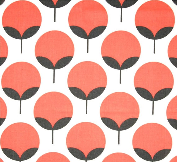Modern Coral Circles Home Decor Fabric Designer by