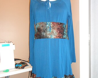 Teal and Multi-Brown Tunic