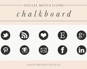 Chalkboard Social Media Icon Set, Circles