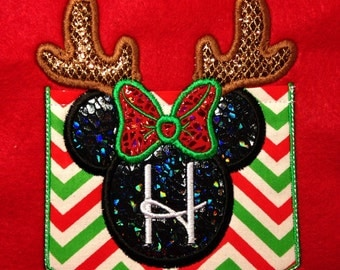 Christmas reindeer mouse head Short Sleeve Chevron monogrammed Pocket tee Minnie inspired -great for Disney trips- family shirts available
