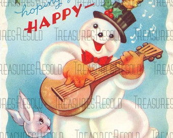 Singing Snowman Christmas Card #120 Digital Download