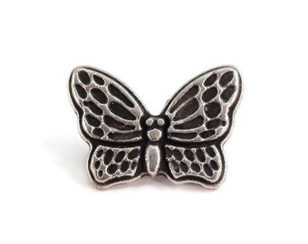 Butterfly Metal Buttons 20mm Antique Silver Qty 3