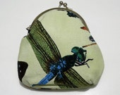 Green fabric purse. Metal frame purse. Small clutch. Dragonfly print.
