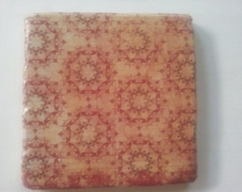 Tan and Burgundy fancy tumbled marble coaster; Set of 4