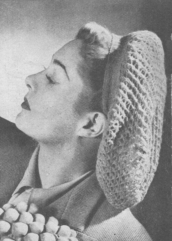 Hair Snood Knitting Pattern : Vintage 1940s Hair Snood Hat Wedding Bride by VintageKnitandStitch