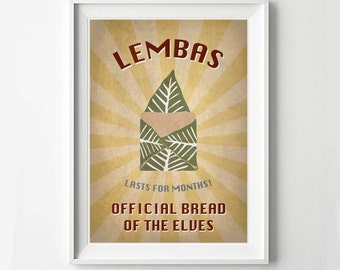 Lord of the Rings Retro Poster Lembas Bread- Digital Art Print, Movie Poster, Vintage Poster