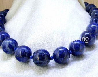 """16"""" 18"""" 24"""" 18mm  Charm Lapis Lazuli Round Beads Knotted Choker Necklace Long Necklace"""