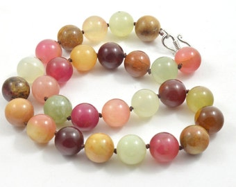 """17"""" 12mm Charm Luster Round Old Jade Beads Knotted  Choker Necklace Charm Jade Jewelry"""