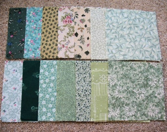 "4.5"" Precut Quilt Squares Fabric 14 Different Green Patterns"