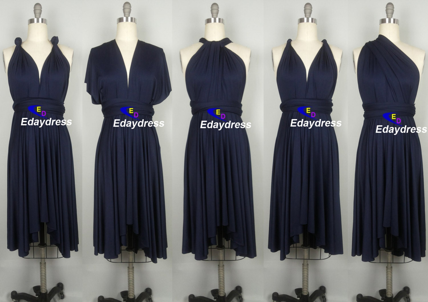 Midnight blue navy blue bridesmaid dress infinity short knee for Midnight blue wedding dress
