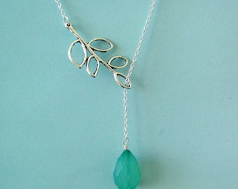 Branch and Celadon Teardrop Lariat Necklace, Bridal jewelry