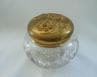 "MB0015 Hollywood Regency 4.5"" Gilt and Crystal Powder Jar with Floral Gilt Lid"