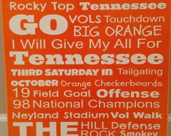 Canvas Tennessee Vols Subway Art