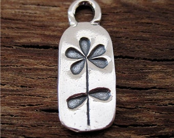 Handmade Stamped Flower Earrring Charm and Pendant in Sterling Silver (one) (A)