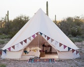 Sand Colored Vintage Style - Bell Tent - 16.5 feet - Glamping - Canvas Festival Tent - Tipi, Yurt, Chill tent Music Festivals