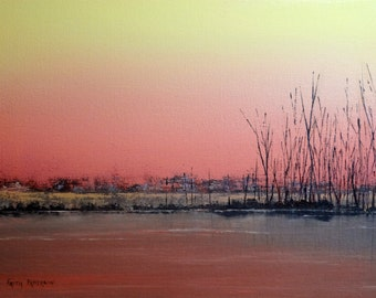 Water Reflection Painting Original Oil Impressionist Landscape Marsh Trees by Faith Patterson