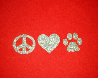 Peace Love Dog glitter iron-on transfer