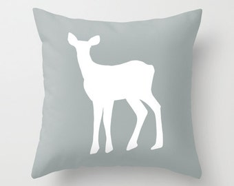 Gray Deer Pillow Cover, water grey fawn silhouette pillow, rustic home decor, animal pillow, fall decor, c pillow,  pillow
