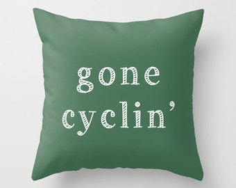 Gone Cycling Pillow Cover, cycling decor, green pillow cover, gifts for cyclists, sport pillow cover, cyclist gift, cyclist pillow cover
