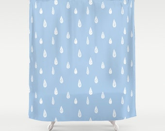 45 colors Rain Drop Shower Curtain, blue bathroom shower curtain, pastel blue raindrops, illustrated bathroom decor