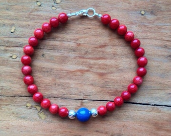Coral and Blue Agate Bracelet