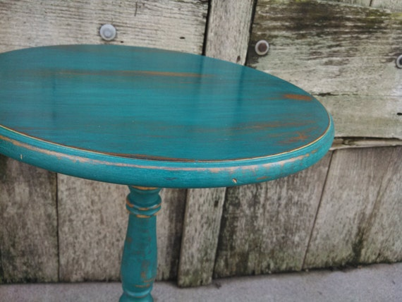 Rustic Teal Side Table Accent Table Shabby Chic Decor