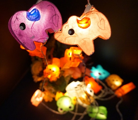 Paper Lantern String Lights Bedroom : 35 LED Handmade Animal paper lantern string lights kid bedroom