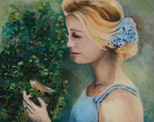 Ekatherine  in the Garden, original oil painting,   24X30 inches, woman, birds, artist Olya Kempe