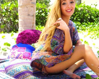 100% Silk Immana kaftan, caftan, Beachwear, beach dress, handmade, Casual Dress, Short, Summer, Throw over, Swimwear