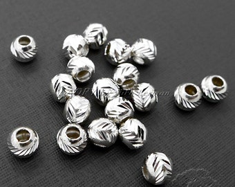 20 pcs 925 Sterling Silver Laser Cut Carved Beads, Sparkling Beads, 5mm, Hole 2mm, Top Quality